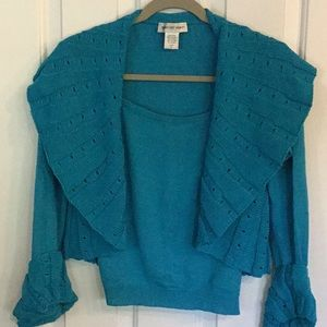 Newport News deep teal blue camisole and shrug